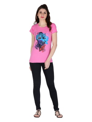 Magnogal Pink printed cotton lycra T-shirt TS-11 L