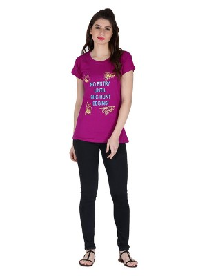 Magnogal Magenta printed cotton lycra T-shirt TS-11 M