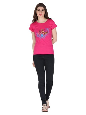 Magnogal Pink printed cotton lycra T-shirt TS-11 P