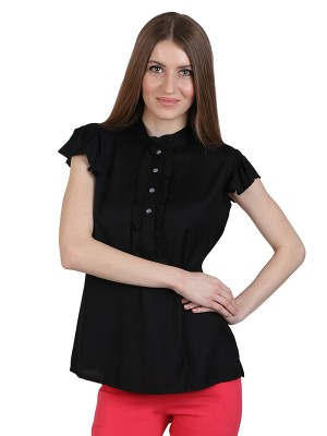 Magnogal Casual CAP SLEEVES Solid BLACK Top- 39 A