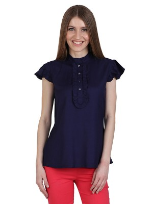 Magnogal Casual CAP SLEEVES Solid NAVY BLUE Top- 39 C