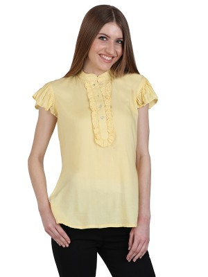 Magnogal Casual CAP SLEEVES Solid YELLOW Top- 39 D