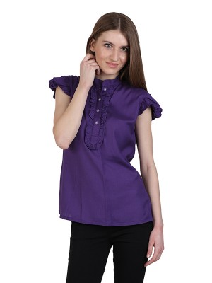 Magnogal Casual CAP SLEEVES Solid PURPLE Top- 39 F