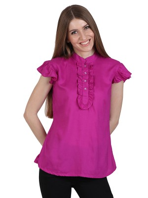 Magnogal Casual CAP SLEEVES Solid PINK Top- 39 G