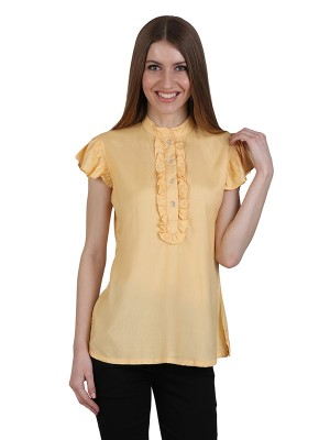 Magnogal Casual CAP SLEEVES Solid BEIGE Top- 39 H