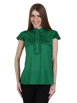 Magnogal Casual CAP SLEEVES Solid GREEN Top- 39 I