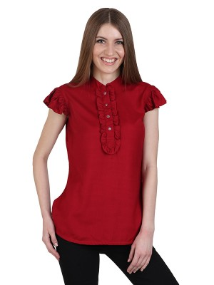 Magnogal Casual CAP SLEEVES Solid MAROON Top- 39 J