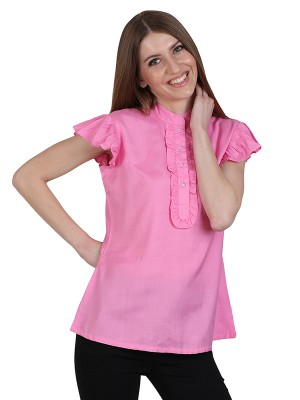 Magnogal Casual CAP SLEEVES Solid BABY PINK Top- 39 K