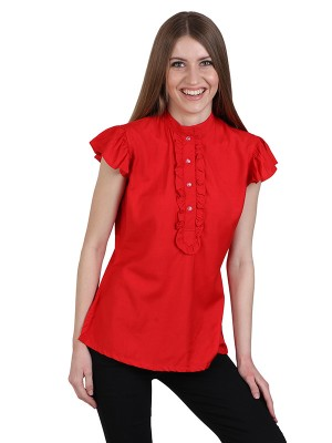 Magnogal Casual CAP SLEEVES Solid RED Top- 39 L