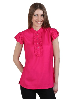 Magnogal Casual CAP SLEEVES Solid MAGENTA  Top- 39 M