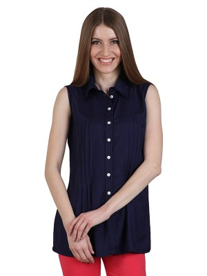 Magnogal Casual  sleeves Solid NAVY BLUE Top- 39 O
