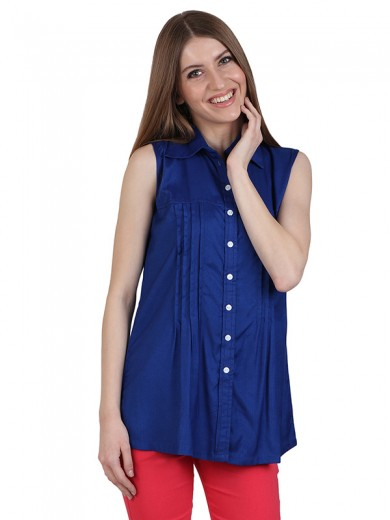 Magnogal Casual  sleeves Solid RORAL BLUE Top- 39 P