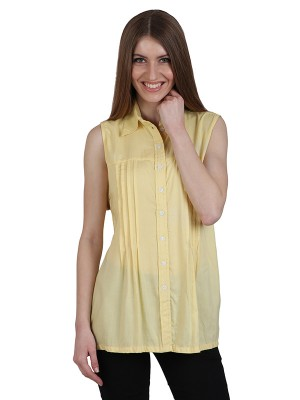 Magnogal Casual  sleeves Solid YELLOW Top- 39 Q