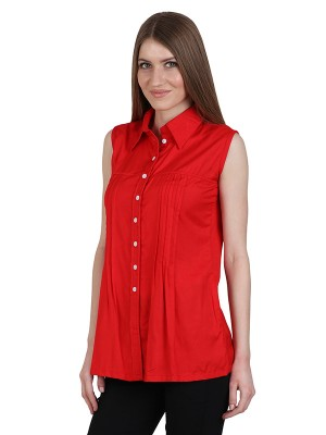 Magnogal Casual  sleeves Solid RED Top- 39 S