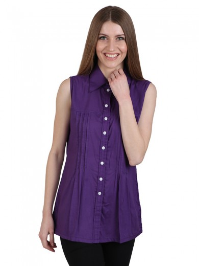 Magnogal Casual  sleeves Solid PURPLE Top- 39 T