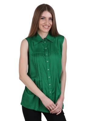 Magnogal Casual  sleeves Solid GREEN Top- 39 U