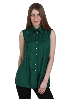 Magnogal Casual  sleeves Solid TEAL GREEN Top- 39 V