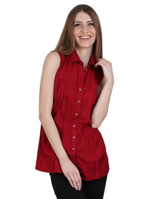 Magnogal Casual  sleeves Solid MAROON Top- 39 W