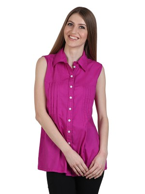 Magnogal Casual  sleeves Solid PINK Top- 39 X