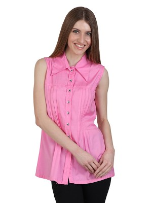 Magnogal Casual  sleeves Solid BABY PINK Top- 39 Y