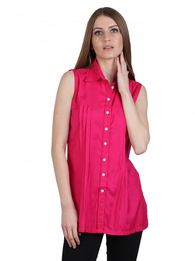 Magnogal Casual  sleeves Solid MAGENTA  Top- 39 Z