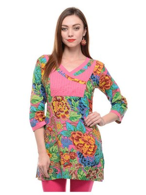Magnogal Casual 3/4 SLEEVES Solid MULTI Top- 40 H