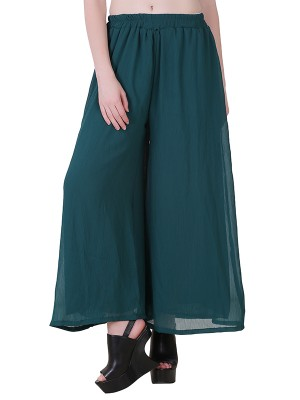 Women One Dark Green  Premium Chiffon Palazzo