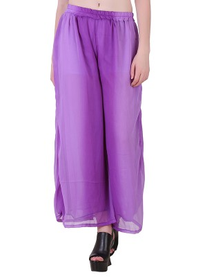 Women One Purple  Premium Chiffon Palazzo