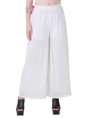 Women One White  Premium Stretchable Palazzo