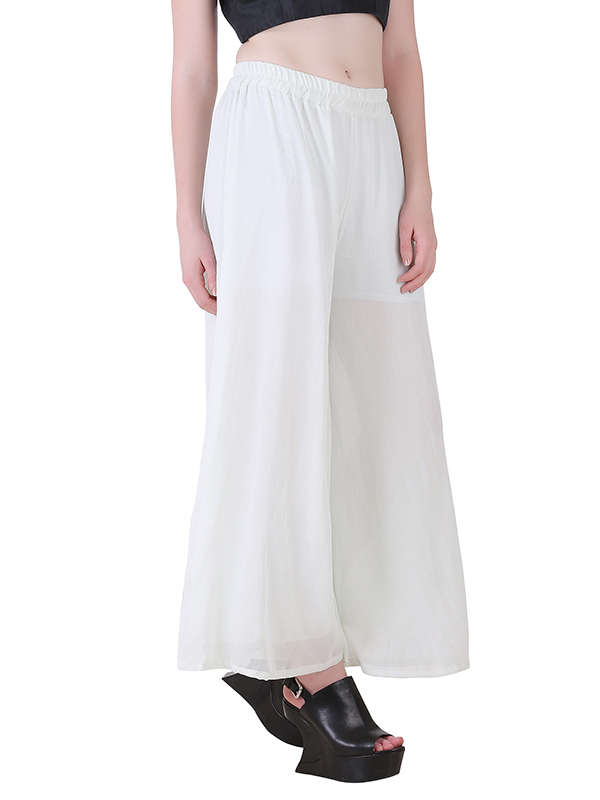 Buy White Stretchable Palazzo For Women Online India Best