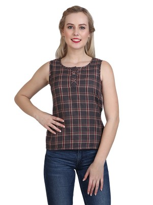 Magnogal Casual Sleeveless Solid Brown Top- 41 K