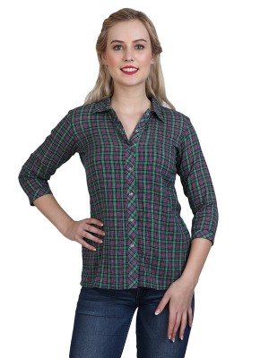 Magnogal Casual 3/4 th sleeve Solid Green Top- 41 L