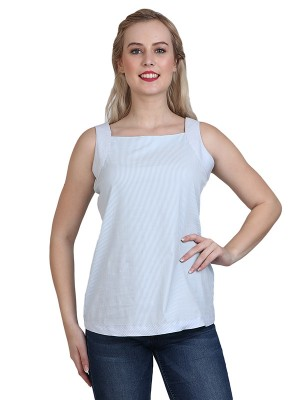 Magnogal Casual Sleeveless Solid White Top- 41 O