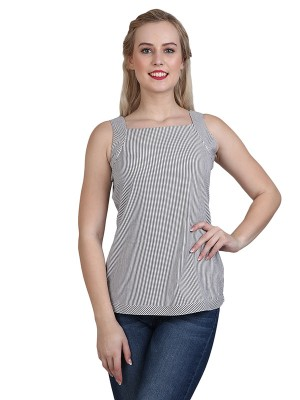 Magnogal Casual Sleeveless Solid Grey Top- 41 P