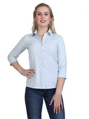 Magnogal Casual 3/4 th sleeve Solid White Top- 41 Q
