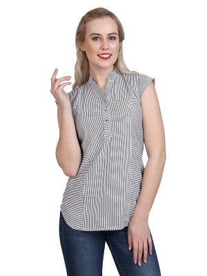 Magnogal Casual cap sleeve Solid Grey Top- 41 R