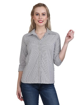 Magnogal Casual 3/4 th sleeve Solid Grey Top- 41 S