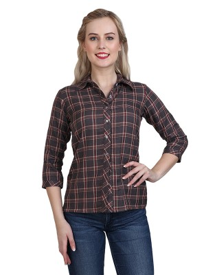 Magnogal Casual 3/4 th sleeve Solid Brown Top- 41 T
