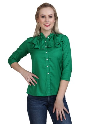 Magnogal Casual 3/4 th sleeve Solid Green Top- 41 U