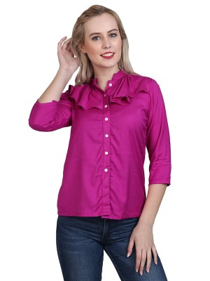 Magnogal Casual 3/4 th sleeve Solid Magenta Top- 41 V