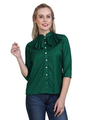 Magnogal Casual 3/4 th sleeve Solid Teal Green Top- 41 W