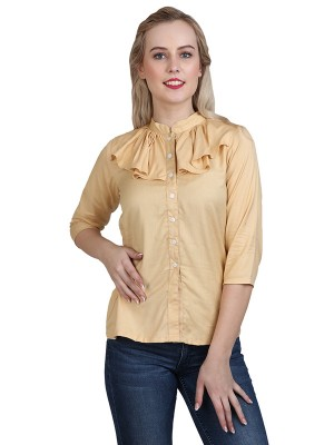 Magnogal Casual 3/4 th sleeve Solid Beige Top- 41 X