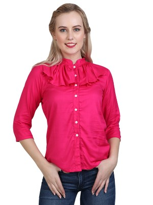 Magnogal Casual 3/4 th sleeve Solid Pink Top- 41 Y