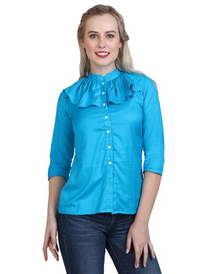 Magnogal Casual 3/4 th sleeve Solid Turquoise Top- 41 YY