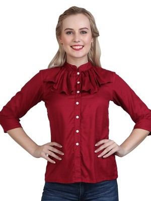 Magnogal Casual 3/4 th sleeve Solid Maroon Top- 41 Z