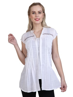 Magnogal Casual cap sleeve Solid White Top- 41 ZZ