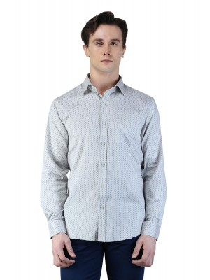 Magnoguy Men's Polka Print Casual Grey Shirt