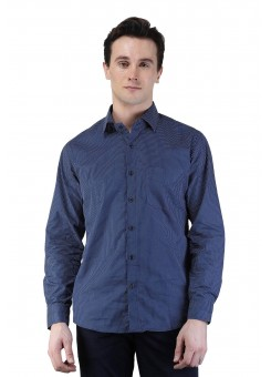 Magnoguy Men's Polka Print Casual Blue Shirt