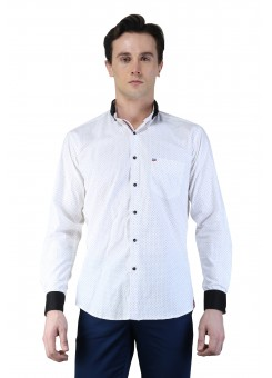 Magnoguy Men's Polka Print Casual White Shirt
