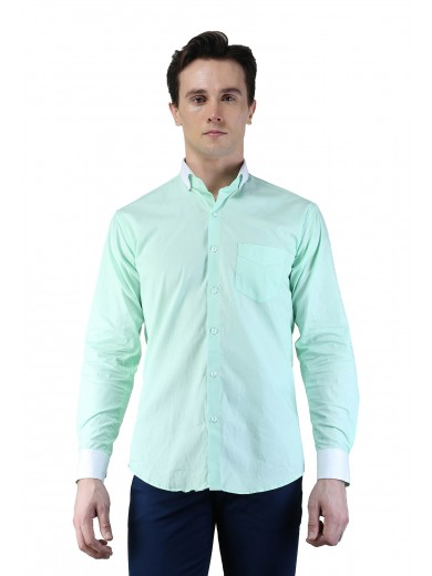 Magnoguy Men's Self Design Casual Light Green, White Shirt